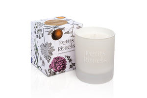 Petitgrain candle in a luxury white frosted glass and floral packaging.