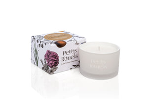 Petitgrain travel candle in white frosted glass and floral packaging.