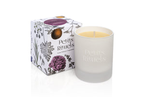 Floral scented candle.