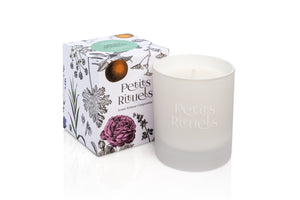 Sweet Spearmint candle in luxury white frosted glass and floral packaging.