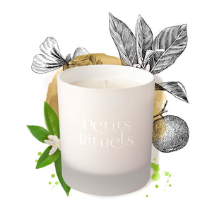 Petitgrain candle in a white frosted glass with illustration of Petitgrain leaves and Geranium.