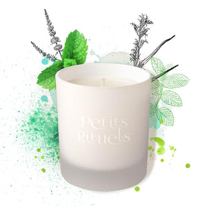 100 % natural aromatherapy candle with organic spearmint and lemongrass essential oils.