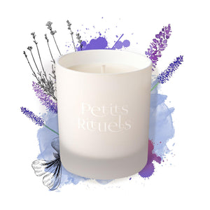 Lavender candle for sleep, 100% natural with organic lavender, rose geranium and ylang ylang.