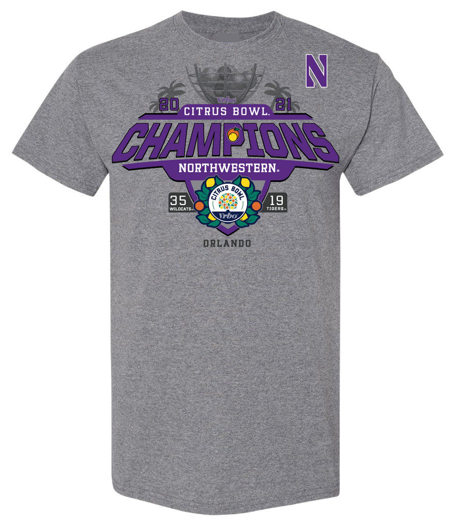 2021 Citrus Bowl Northwestern Champions Heather Grey SST
