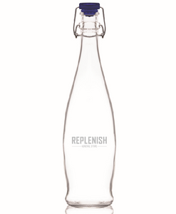 1 L REPLENISH Bottle with blue flip top lid and printed logo