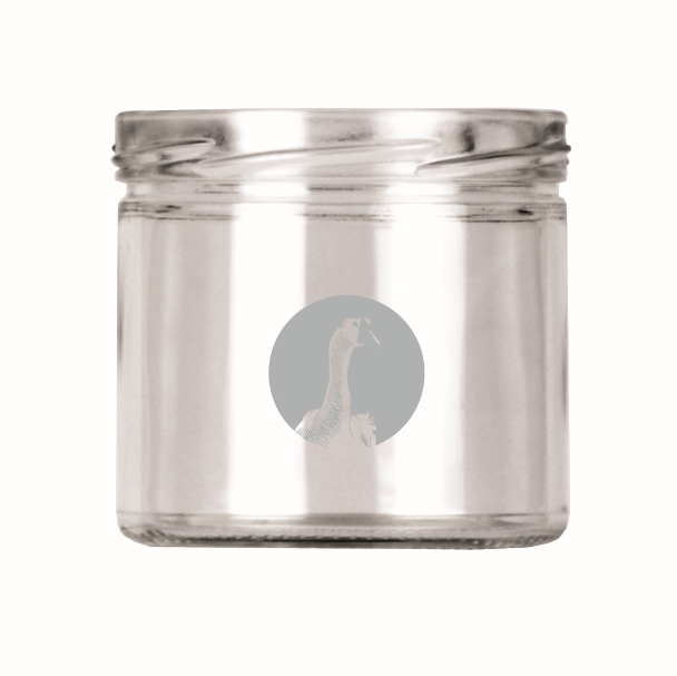 282 ml REPLENISH wide mouth jar with printed goose head silver screw top lid