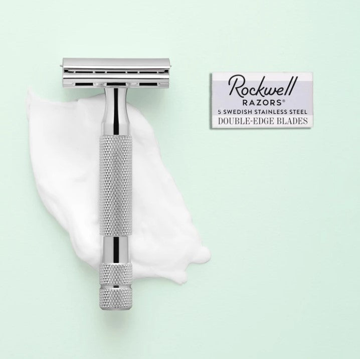 3 piece set with 2C Adjustable Razor, Vegan Shave Brush and Stand in White Chrome | Rockwell Razors