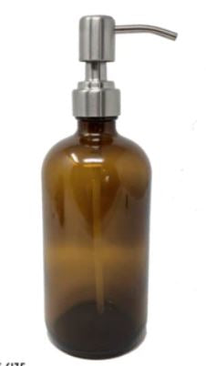 Amber Boston Round Glass Bottle with Metal Pump | 500 ml