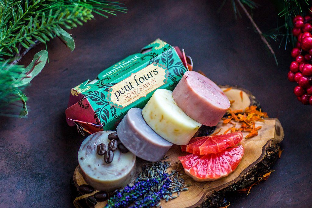 We've taken our four most popular soap scents and wrapped them in one delicious package ready for gift giving. Enjoy a sample of our Pink Grapefruit and Vanilla, Calendula, Lavender and Om Shanti soaps for an indulgent treat. Looks good and smells good enough to eat!