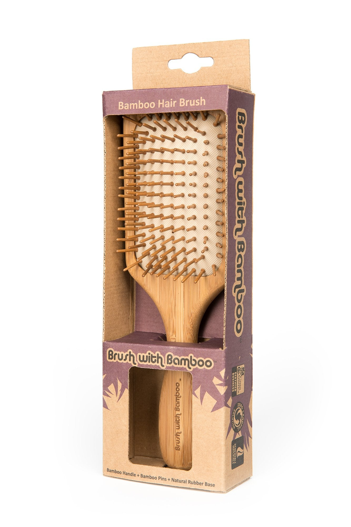 This bamboo hairbrush is a zero-waste alternative to hairbrushes made with synthetic materials. It has a natural and luxurious feel and functions exactly like conventional hairbrushes. Brush pins are pure bamboo Cushion base is natural rubber Bamboo handle has a beeswax finish.  It's packaged in compostable, paper packaging.