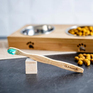 The OLA Bamboo toothbrush for dogs is an eco-friendly choice that's also a good choice for your pet's dental health, sold at Replenish General Store.