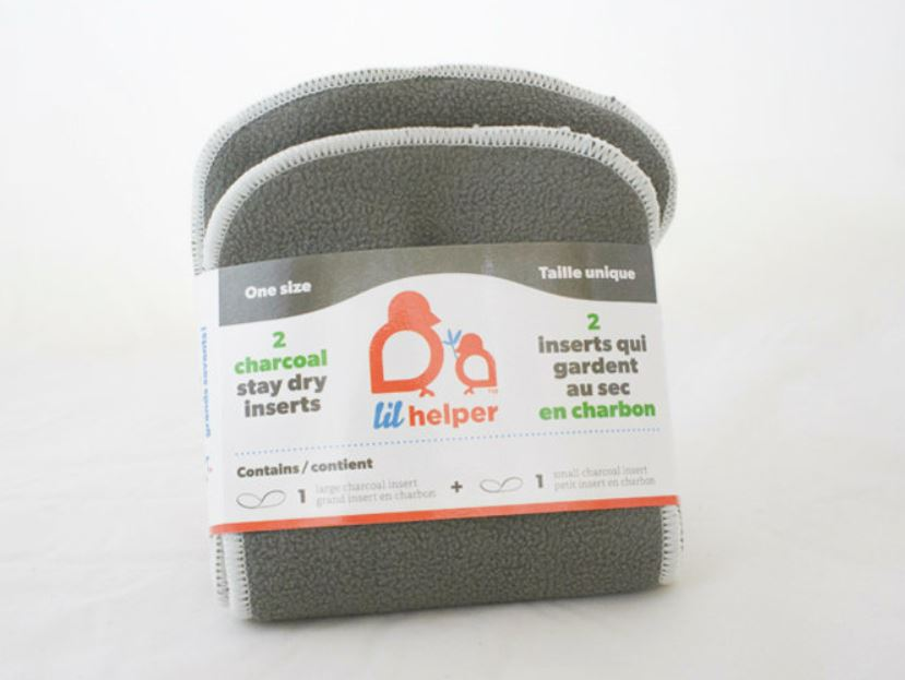 Charcoal cloth diaper insert, hypoallergenic, naturally deodorizing, and anti-bacterial to keep baby dry, a zero waste, eco-friendly zero waste alternative to traditional diapers.