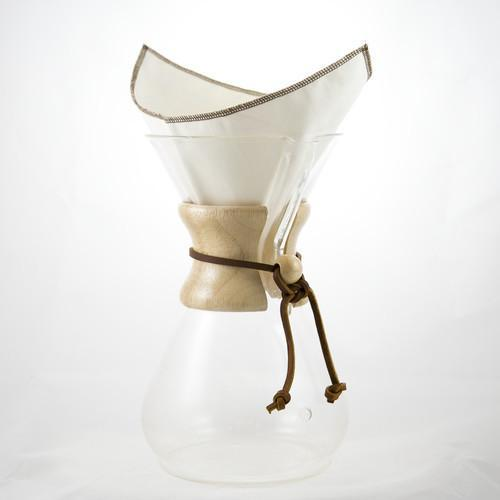 Reusable, pour over filter, made from USDA Certified organic cotton, fits Chemex 6 Cup Filter, in a pack of 2.