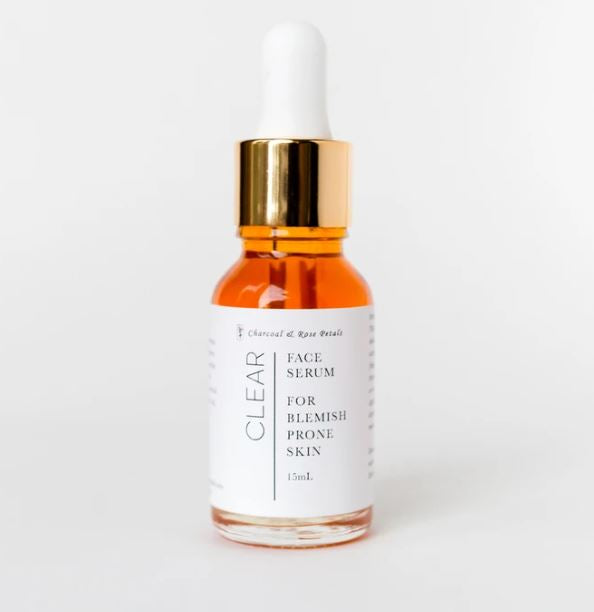 Clear Face Serum | Blemish Prone Skin | Charcoal & Rose Petals