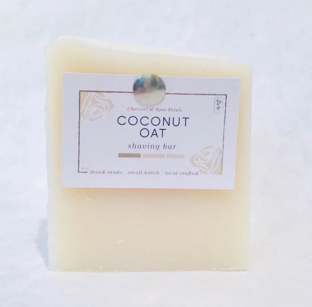 Coconut Oat Shave Bar | Charcoal & Rose Petals