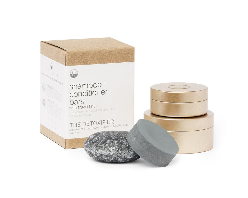 The Detoxifier Shampoo + Conditioner Bars with Travel Tins