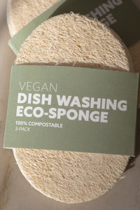 100% biodegradable and compostable Eco-Sponges replace soft plastic sponges at the sink for dish washing.