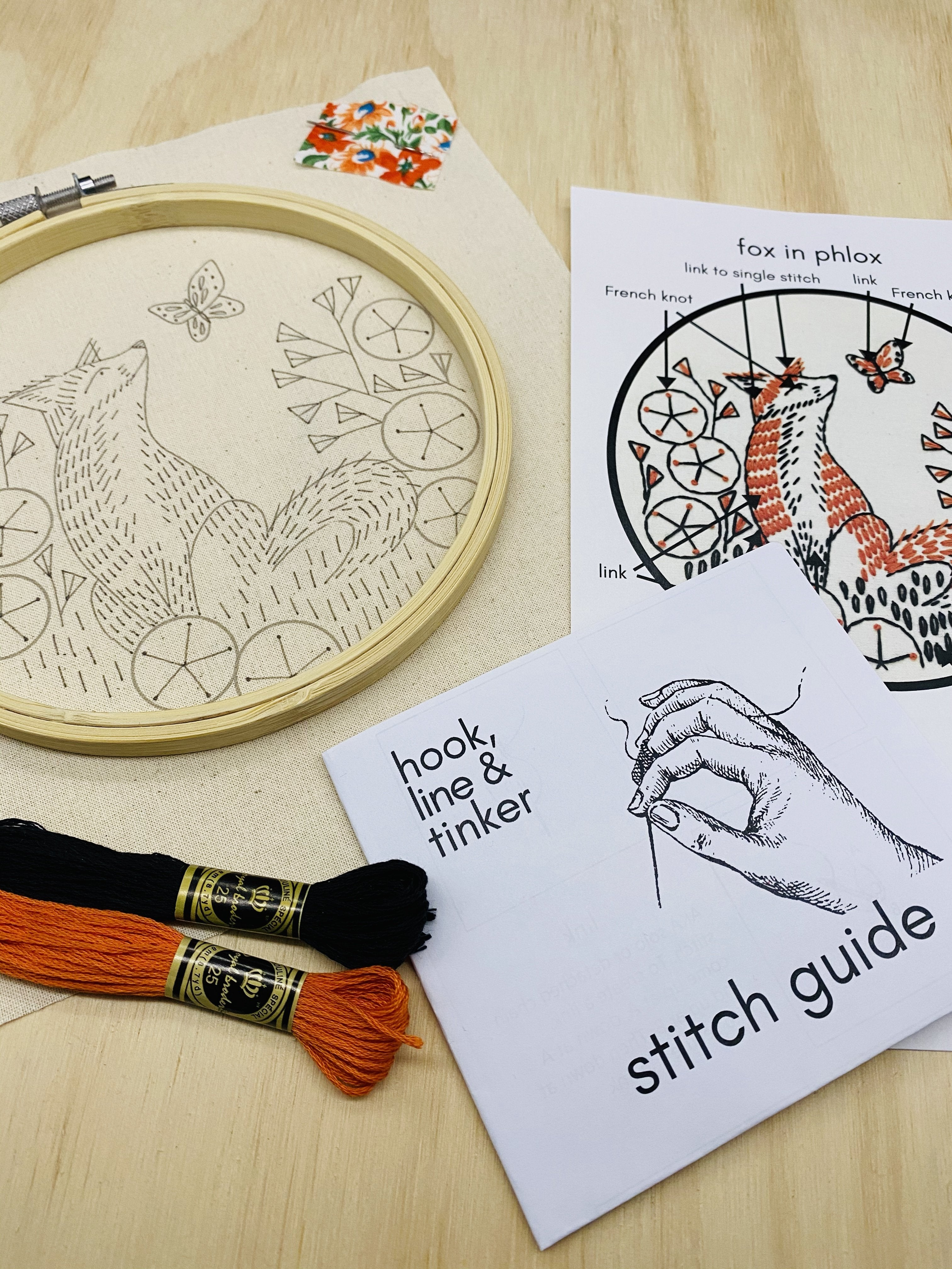 Fox in Phlox Embroidery Kit | Hook, Line & Tinker