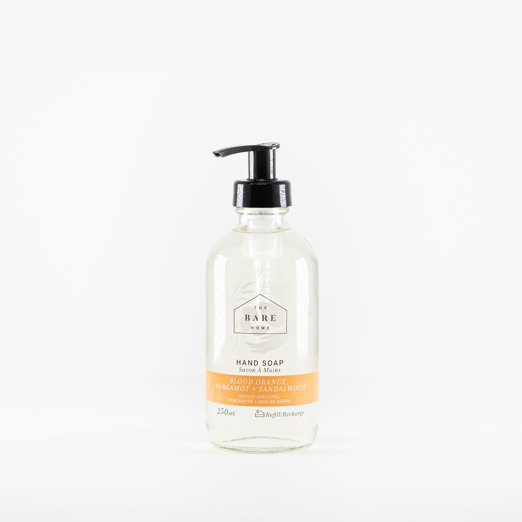 Plant-based hand soap scented with essential oils available at Replenish General Store.