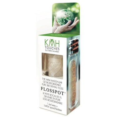 KMH Touches Flosspot Biodegradable Pure Silk Dental Floss is a luxurious silk dental floss, lightly waxed with candelilla for strength and ease of use between tight teeth. It is not flavoured to prevent changing any lab results for purity of its silk, which is at least 97% pure. This product contains no plastic and is therefore safe for the environment. This floss comes in a mini glass mason jar which is refillable, reusable and eco-friendly. 40m floss