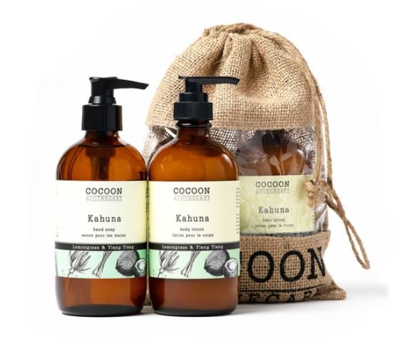 Care for your hands with luxurious, natural ingredients. This set includes a hand soap and lotion with the uplifting essential oils of lemongrass and ylang-ylang. Kahuna Hand Soap A coconut-based liquid soap with a nice lather that effectively washes hands without drying or irritating your skin.