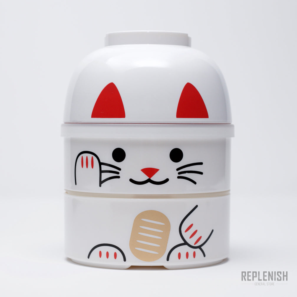 Kokeshi Bento Box - White Cat