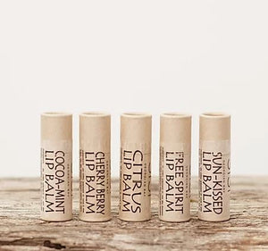 All natural, moisturizing lip balm, handmade in biodegradable kraft paper tubes, made by Sisi Georgian Bay, available at Replenish General Store.