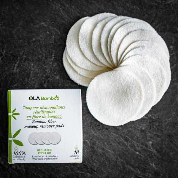 16 reusable makeup remover pads (70%) bamboo viscose and (30%) cotton fiber available at Replenish General Store.