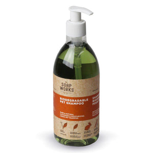 The SoapWorks Pet Shampoo is a natural, biodegradable pet shampoo and contains, chlorophyll and cedar leaf essential oil as a mild deodorant and repellent, available at Replenish General Store.