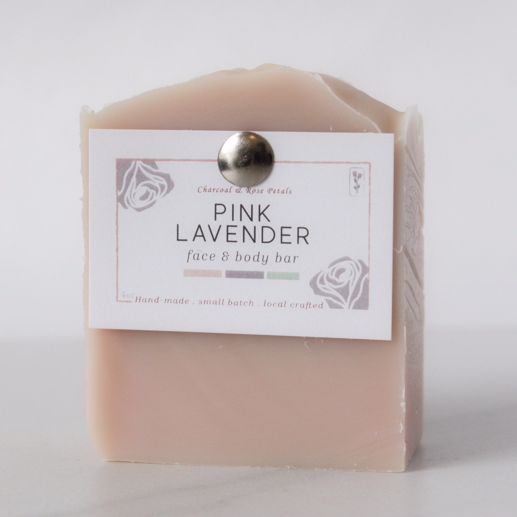 Pink Lavender Face & Body Bar | Charcoal & Rose Petals