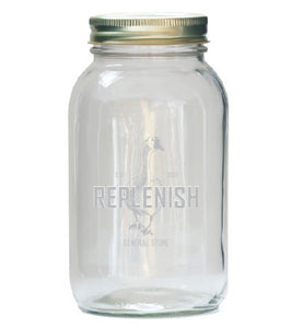 1 L REPLENISH Mason Jar with large printed logo and gold screw top 2 piece lid