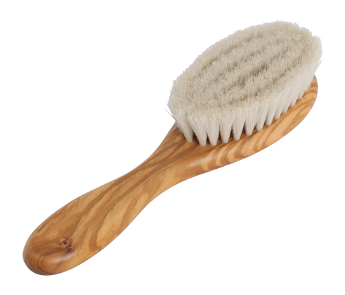 This handcrafted, sustainably made brush for babies is made from waxed olive wood and goat hair.