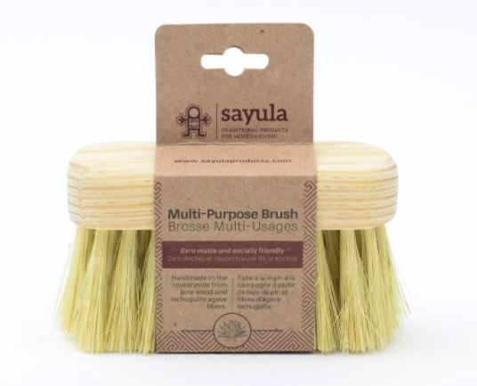 Multi-use on the body or around the home, this brush efficiently cleans hard-to-clean dirt with soft bristles that do not damage surfaces. Sayula is a Mexican-Canadian company which provides environmentally and socially responsible bath and kitchen products.