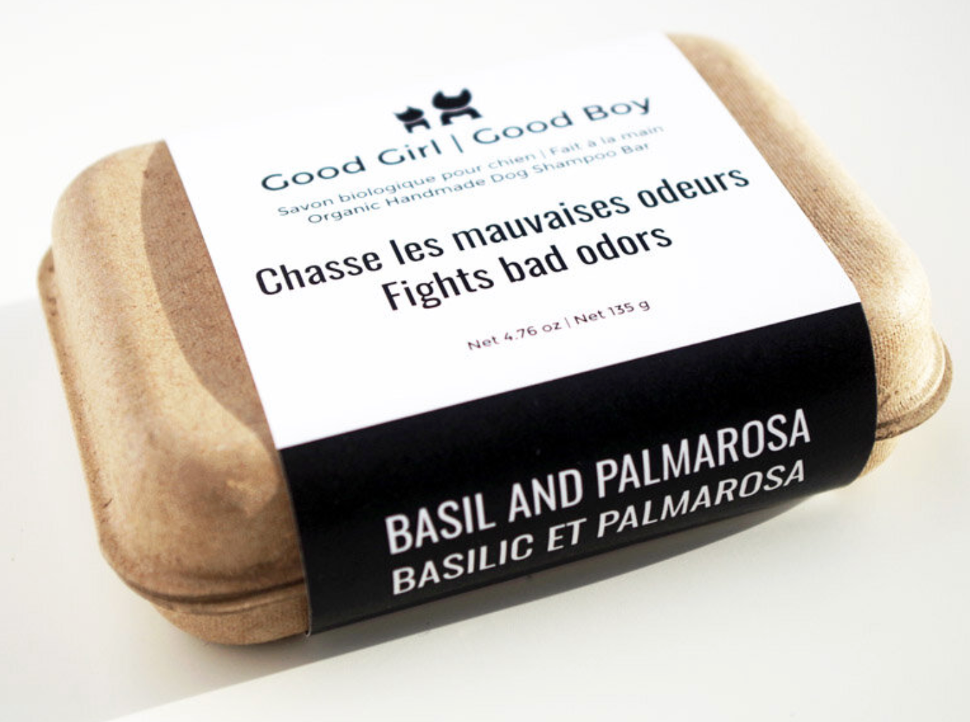 100% Natural and Organic Basil and Palmarosa Soap with Shea Butter to fight bad odors. It's antibacterial, antiviral and antifungal. Conditioning and cleansing without drying your dog's sensitive skin. These soaps are biodegradable, certified vegan and cruelty-Free made with organic ingredients.
