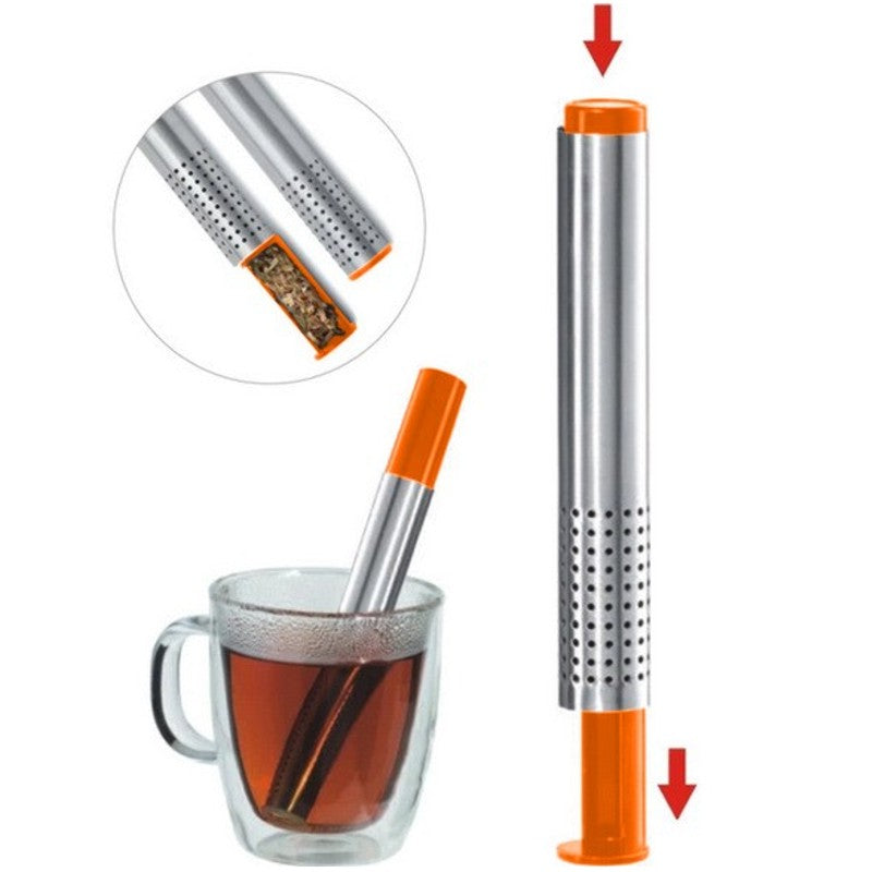 Tea Infuser Sticks, a sustainable way to enjoy loose leaf tea! Convenient and easy to use - just press the spring-loaded button and fill with loose tea. Submerge the stick in hot water for brewing right in your cup. Dishwasher safe.