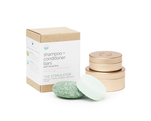 The Stimulator Shampoo + Conditioner Bar with Travel Tins