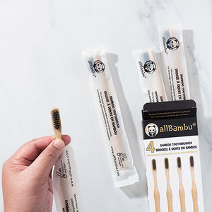 Made from organically grown bamboo, our eco-friendly sustainable bamboo toothbrushes are licensed by Health Canada The BPA-free, vegan, bristles are infused with premium activated white charcoal (Binchotan from Japan) and have powerful antibacterial properties that cleans, whitens and brightens your teeth naturally and guarantees you great oral hygiene