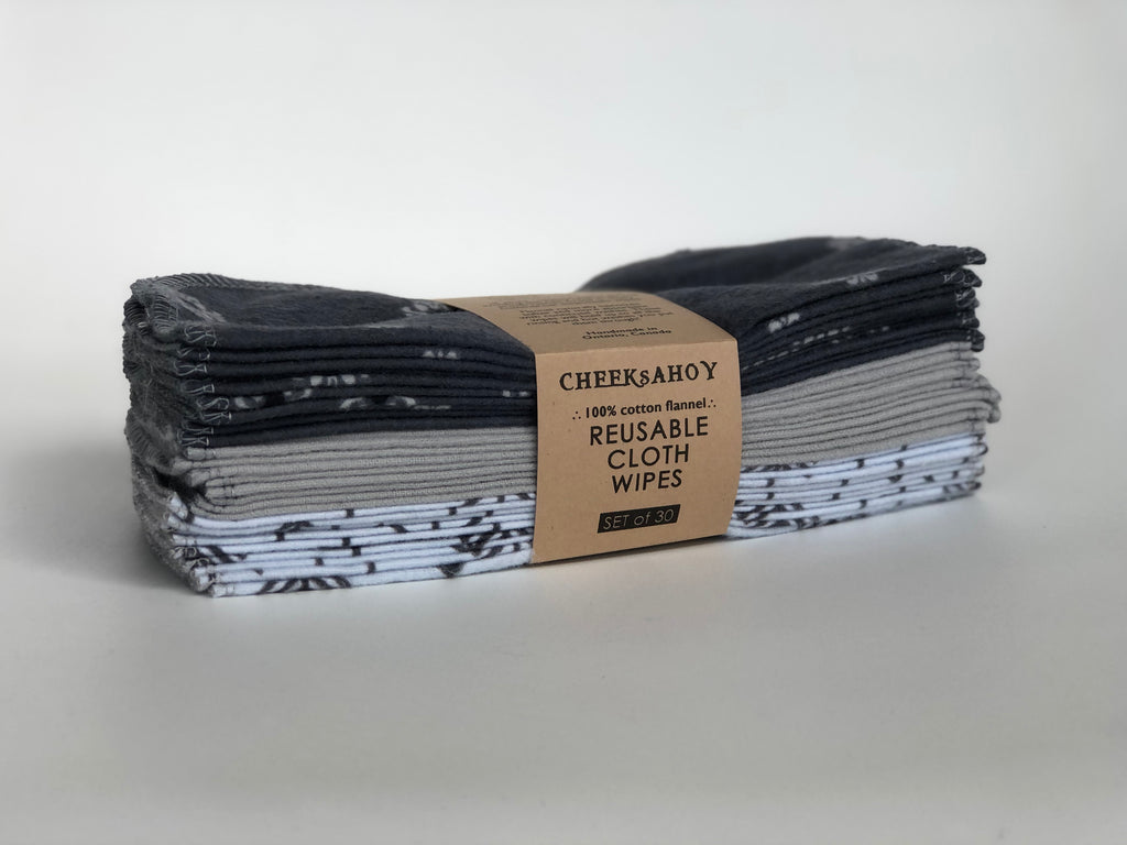 Reusable Cloth Wipes | Set of 30 | Monochrome | Cheeks Ahoy