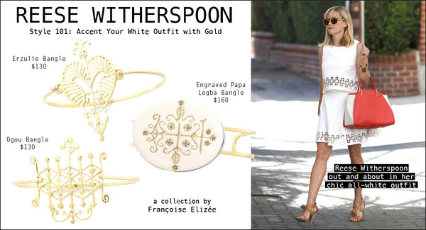 Reese Witherspoon Accent your white outfit with gold