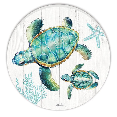 Round Timber Wall Art 48cm Turtles