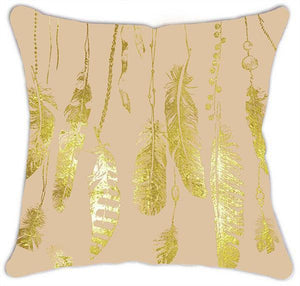 Gold Feathers Metallic Shimmer Art Deco Design 45 x 45cm Cushion