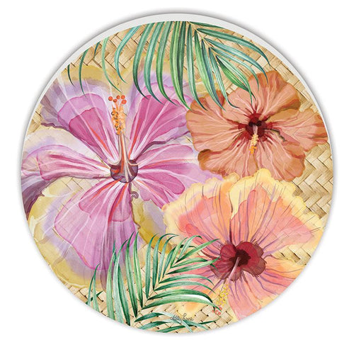 Round Timber Wall Art 48cm Hibiscus
