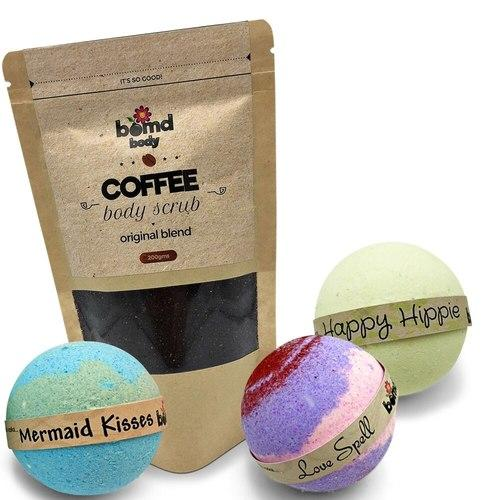 Coffee Body Scrub + Love Spell, Mermaid Kisses, Happy Hippie Bath Bombs Pack