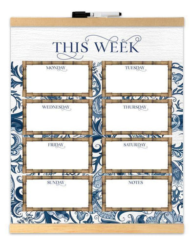 Weekly Planner Whiteboard Wall Hanging Scroll Chippendale Design