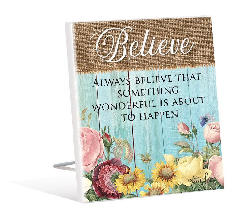 Sentiment 12x15 3D Heirloom BELIEVE