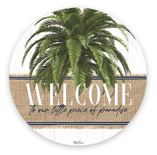 Oasis Tropical Palm Leaves Designer Placemat SEt of 6 Round Place Settings