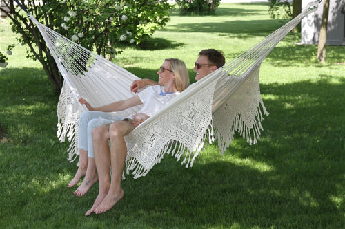 Deluxe Brazillian  Double Hammock with Classic Hand Crocheted Fringe