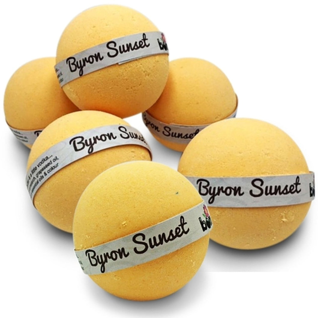Sunset Bubble Bath Bomb Set of 6 in Beautiful Tropical Fragrance & Moisturising Butters & Oils