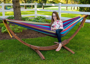 Wooden Arc Frame & Double Deluxe Hammock Set