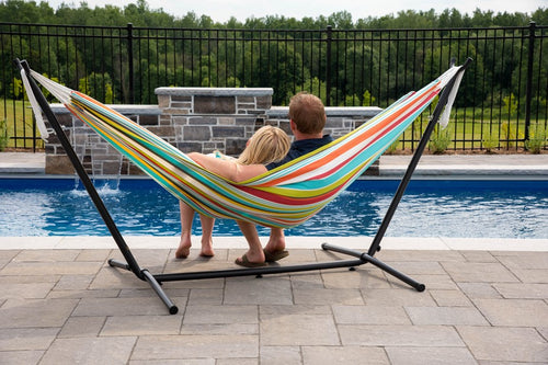 All Weather Double Polyester Hammock with 9 feet Stand Combo